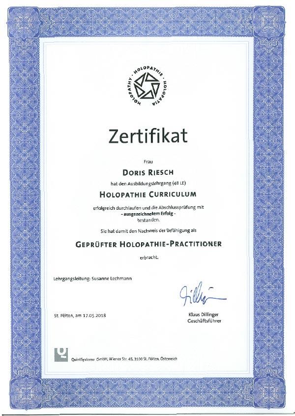 Zertifikat Holopathie Doris Riesch Mödling